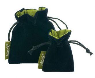 Saquinho de veludo personalizado 10 x 15 - Borda colorida com etiqueta lateral - Para outros tamanhos consulte - Linha Luxo 7164