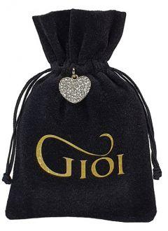 Saquinho de veludo personalizado para joias - 10x15 - impressão em hot stamping - pingente de coração niquelado  - Linha Premium 1069