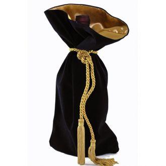 Saquinho de veludo Premium para garrafa - borda dupla de cetim, corda e pingente de seda 18x40 - Linha Exclusive  3345
