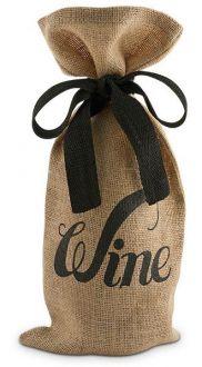 Saquinho para garrafa de juta 18x40 - personalização em serigrafia - fechamento com fita de gorgurão - Linha Orgânica  1808