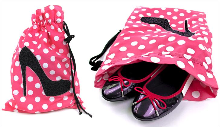 Saquinho de cetim poá para sapato - Tamanho 20x35 - impressão em obm  -  Linha Classic  7397  - Litex Embalagens