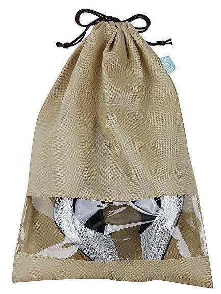 Saquinho de tnt para sapato 25x35 - com visor de pvc cristal - etiqueta lateral personalizada  -  Linha Classic  7398  - Litex Embalagens