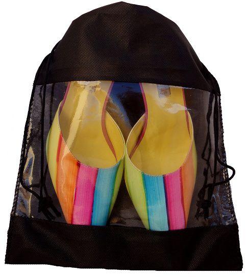 Saquinho de tnt 60 com visor de pvc para sapato - 25 x 35 - sem impressão -  Linha Classic 7433  - Litex Embalagens