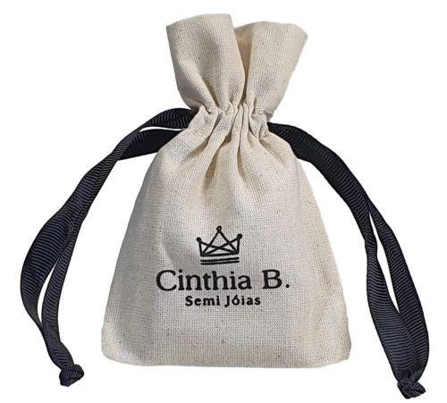Embalagem de algodão Borda Laço 08 x 12 - Impressão serigrafia - Fechamento com fita de gorgurão   -  Linha Classic  400  - Litex Embalagens