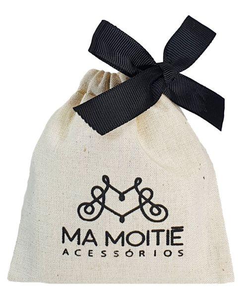 Embalagem de algodão personalizada para lembrancinhas - 08x12 - fechamento fita de gorgurão - impressão em serigrafia - Linha Classic 7137  - Litex Embalagens