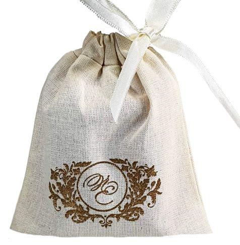 Embalagem de algodão personalizada para lembrancinhas - 12x18 - impressão em serigrafia - Linha Classic 7143  - Litex Embalagens