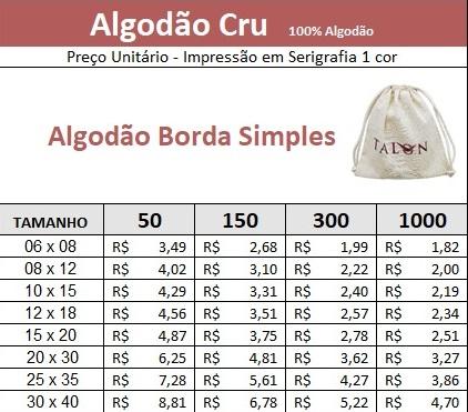 Embalagem de Algodão Cru Borda Simples 45x65 Personalizado em Serigrafia 1 Cor   - Litex Embalagens