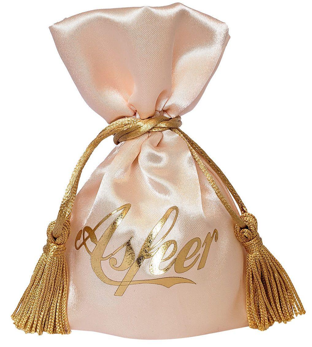 Embalagem de cetim  para joias -  08 x 12 - Impressão Hot-Stamping Italiano - Fechamento com pingente de seda -  Linha Premium  6102  - Litex Embalagens