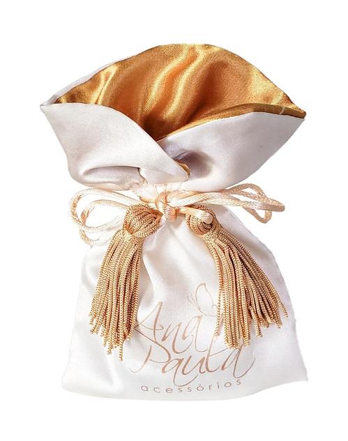 Embalagem de cetim personalizado - Tamanho 08 x 12 - Borda gola colorida e pingente de seda - impressão 1 cor- Linha Premium 1210  - Litex Embalagens