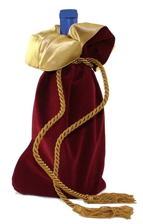 Saquinho de veludo para garrafa - borda dupla de cetim - fechamento de corda e pingente de seda 18x40 - Linha Premium 4006  - Litex Embalagens