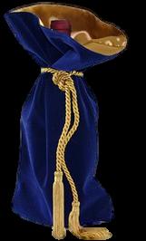 Saquinho de veludo para garrafa - borda dupla de cetim - fechamento de corda e pingente de seda 18x40 - Linha Premium 4005  - Litex Embalagens