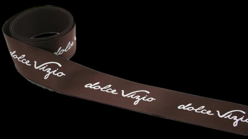 Fita de cetim personalizada 10mm  - Impressão Foil Metalizado  ou serigrafia 1 cor - Preço por metro  - Linha cristal 1511  - Litex Embalagens