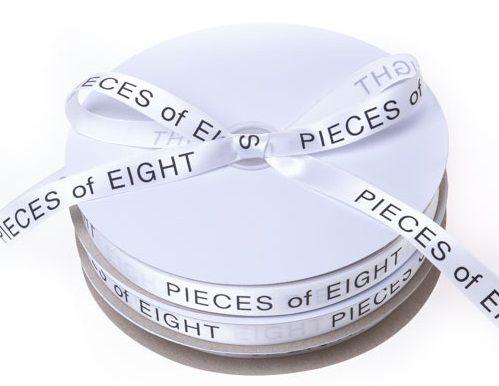Fita de cetim personalizada 10mm  - Impressão Foil Metalizado ou serigrafia 1 cor - Preço por metro - Linha cristal 4519  - Litex Embalagens