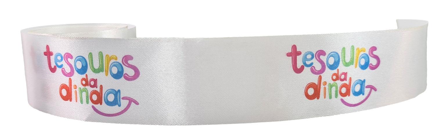 Fita de cetim personalizada 15mm - impressão colorida - Preço por metro - Linha cristal  9301  - Litex Embalagens