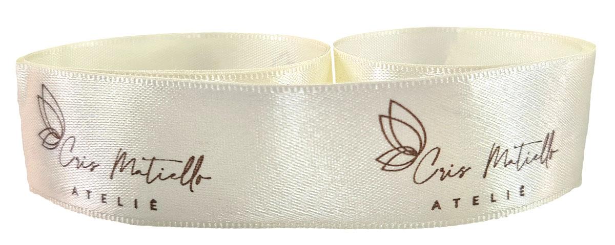 Fita de Cetim 15mm Personalização em Foil Metalizado ou Serigrafia 1 Cor  - Litex Embalagens