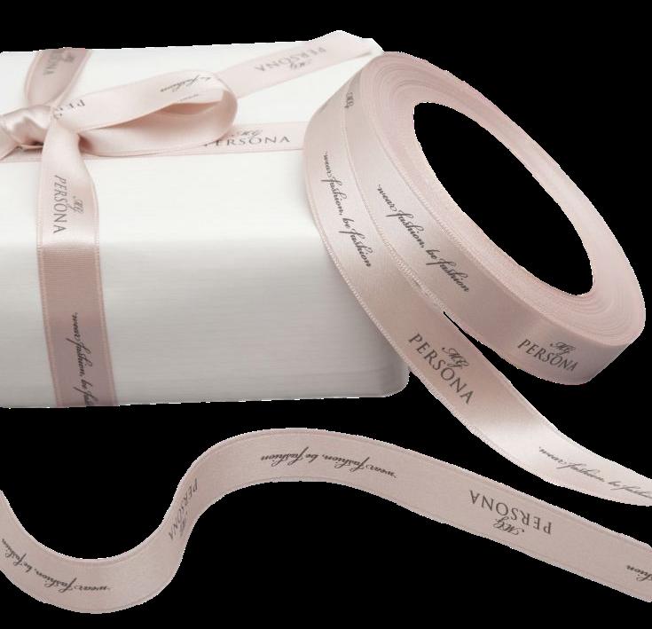 Fita de cetim personalizada 25mm  - Impressão Foil Metalizado ou serigrafia 1 cor - Preço por metro - Linha cristal 4506  - Litex Embalagens