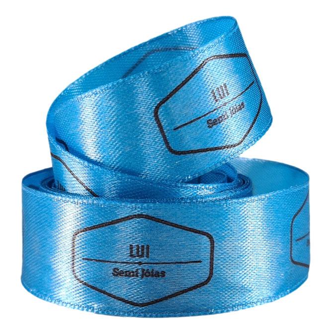 Fita de cetim Personalizada 25mm  - Impressão Foil Metalizado ou serigrafia 1 cor - Preço por metro - Linha cristal 9090  - Litex Embalagens