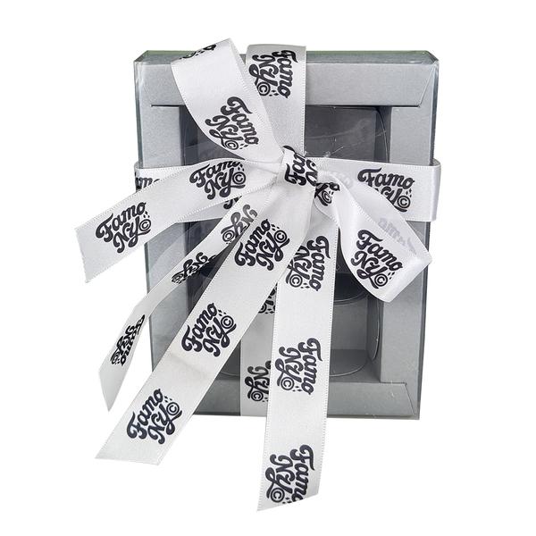 Fita de cetim Personalizada 25mm  - Impressão Foil Metalizado ou serigrafia 1 cor - Preço por metro - Linha cristal 9091  - Litex Embalagens