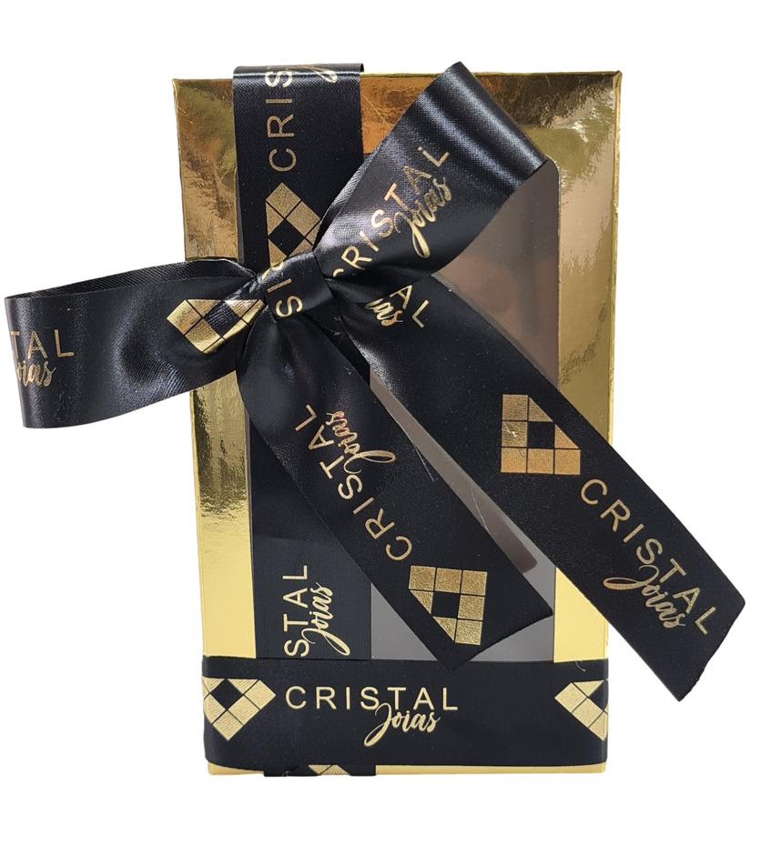 Fita de Cetim 25mm Personalização em Foil Metalizado ou Serigrafia 1 Cor  - Litex Embalagens