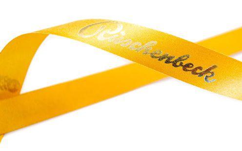 Fita de cetim personalizada 30mm  - Impressão Foil Metalizado ou serigrafia 1 cor - Preço por metro - Linha cristal  4511  - Litex Embalagens