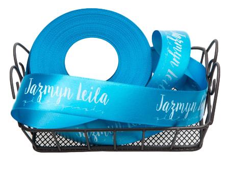 Fita de cetim personalizada 30mm  - Impressão Foil Metalizado ou serigrafia 1 cor - Preço por metro - Linha cristal 4543  - Litex Embalagens