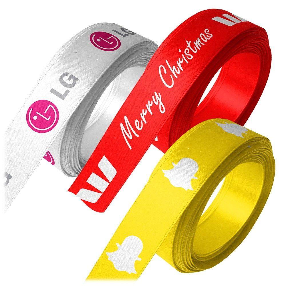 Fita de cetim personalizada 30mm  - Impressão Foil Metalizado ou serigrafia 1 cor - Preço por metro - Linha cristal 4547  - Litex Embalagens