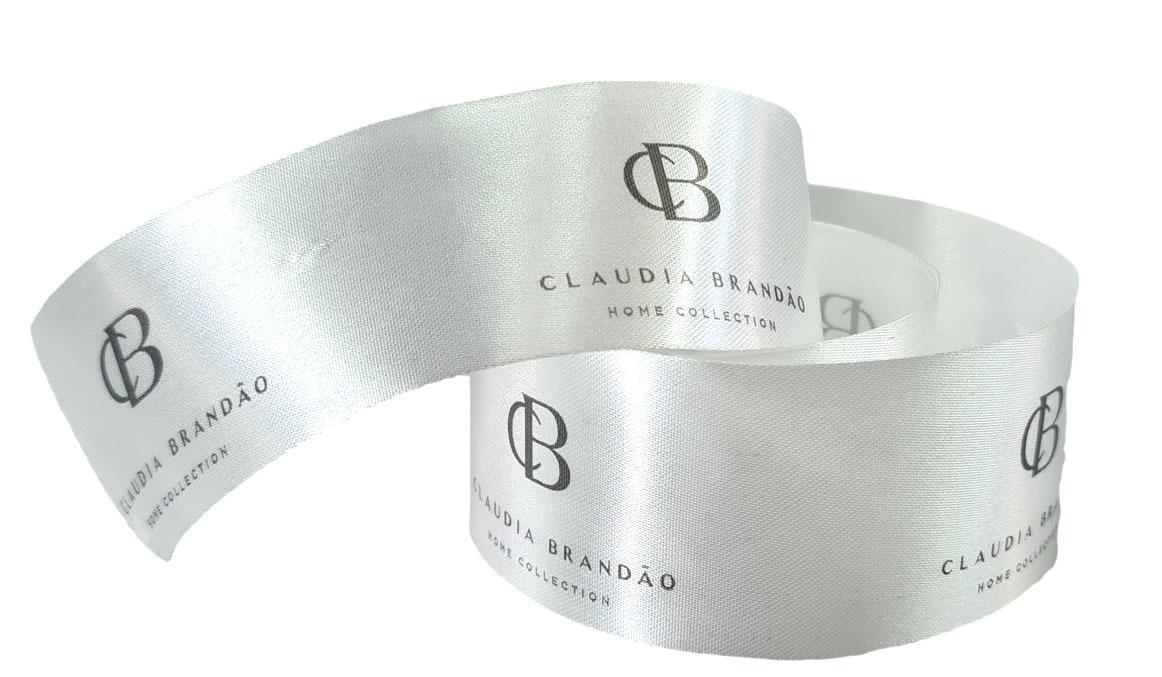 Fita de Cetim 30mm Personalização em Foil Metalizado ou Serigrafia 1 Cor  - Litex Embalagens