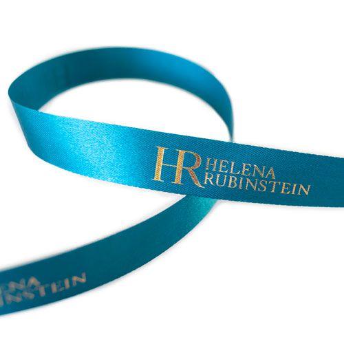 Fita de cetim personalizada 35mm  - Impressão Foil Metalizado ou serigrafia 1 cor - Preço por metro - Linha cristal  7145  - Litex Embalagens
