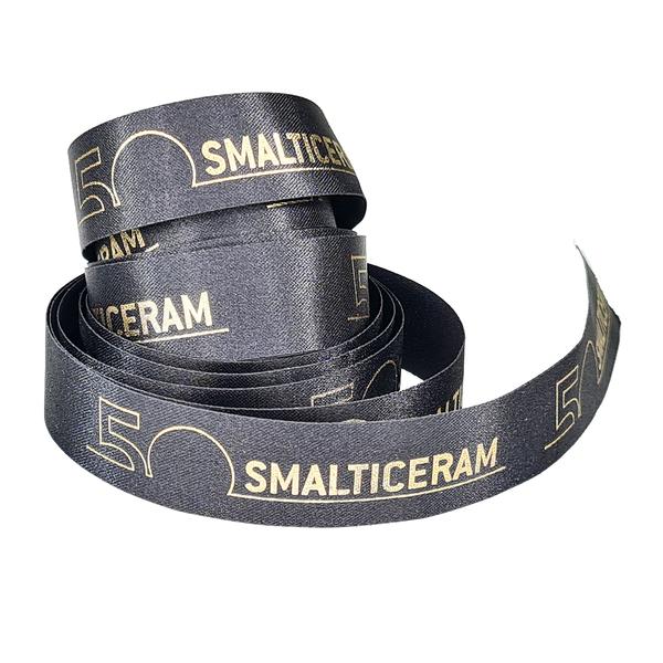 Fita de cetim personalizada 35mm  - Impressão Foil Metalizado ou serigrafia 1 cor - Preço por metro - Linha cristal 9204  - Litex Embalagens