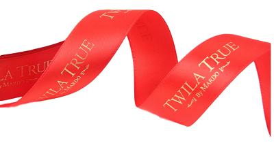 Fita de cetim personalizada 40mm   - Impressão Foil Metalizado ou serigrafia 1 cor - Preço por metro - Linha cristal  4524  - Litex Embalagens