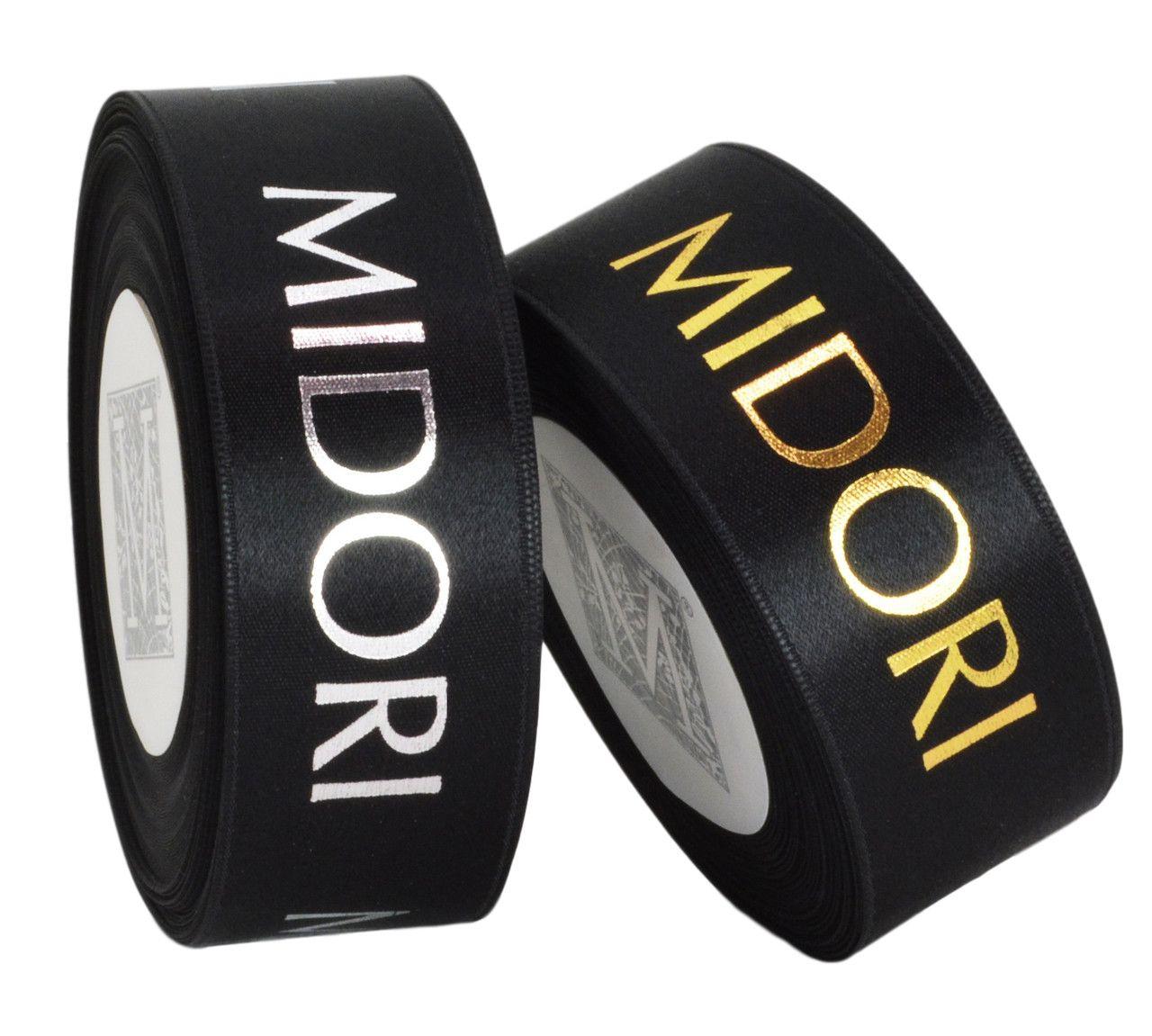 Fita de cetim personalizada 45mm  - Impressão Foil Metalizado ou serigrafia 1 cor - Preço por metro - Linha cristal 1513  - Litex Embalagens
