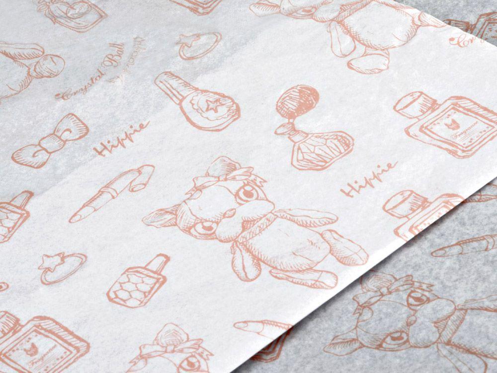 Papel de Seda Personalizado 20g/m - Tamanho 50 x 70 - Impressão em 1 cor - Linha paper  7708  - Litex Embalagens