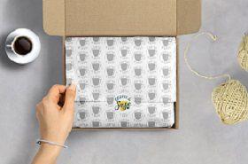 Papel de Seda Personalizado  20g/m - Tamanho 50x70 - impressão em 1 cor - Linha paper  77037  - Litex Embalagens