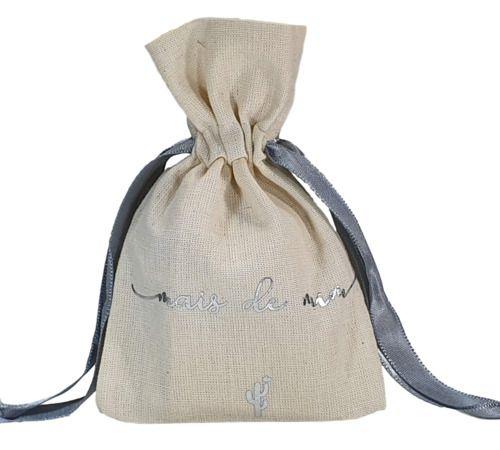 Kit Necessaire de Algodão 12x10 e Saquinho de Algodão 08x12 - impressão em Hot Stamping Italiano -  Linha Gift  6230  - Litex Embalagens