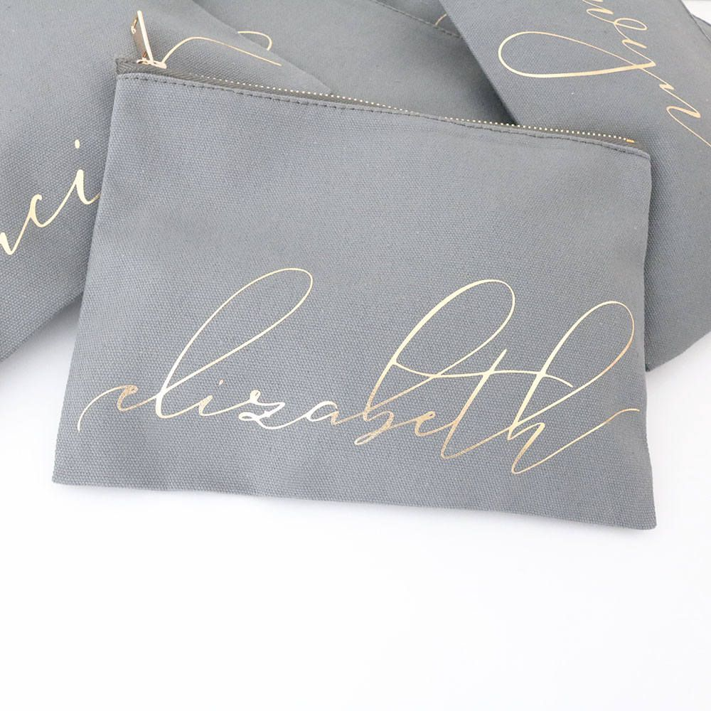 Necessaire de Cetim dublado - Impressão Hot-Stamping Italiano - ziper de poliéster -Tamanho 10 x 12 -  Linha Gift  2219  - Litex Embalagens