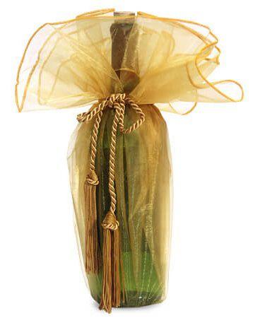 Pouch de organza para garrafa sem impressão - Fechamento com corda e pingente de seda - Linha Exclusive  1800  - Litex Embalagens