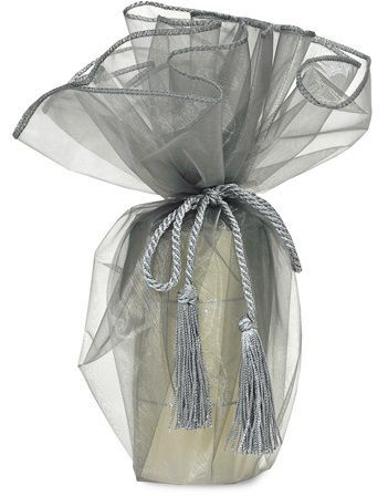 Pouch de organza para garrafa sem impressão - Fechamento com corda e pingente de seda - Linha Exclusive  1774  - Litex Embalagens