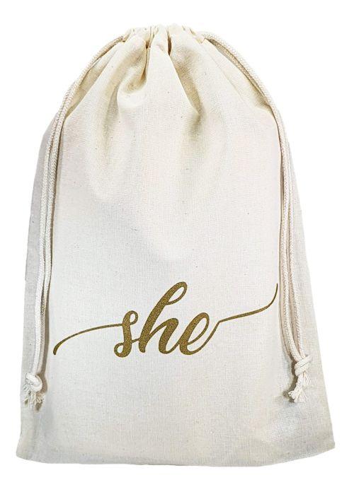 Saco de algodão  personalizado para chinelos 20x35 -  impressão em serigrafia  -  Linha Classic 4359  - Litex Embalagens