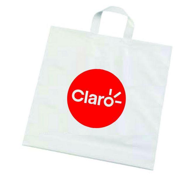 Kit com 3 Sacolas plástica alça fita - Alta densidade 0,15 - tamanho 45X55 - Impressão em serigrafia 1 cor - Linha Cristal  1528  - Litex Embalagens