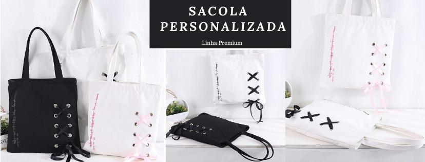 Sacola Personalizada de Lonita Premium 35 x 45 - Impressão Serigrafia - Detalhe ilhós metal e fita de cetim -  Preço Unitário - Linha Gift  4051  - Litex Embalagens