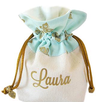 Saquinho de algodão borda personalizada 10 x 15 - ponteira de pedras -impressão em serigrafia 1 cor - Linha Exclusive  7119  - Litex Embalagens