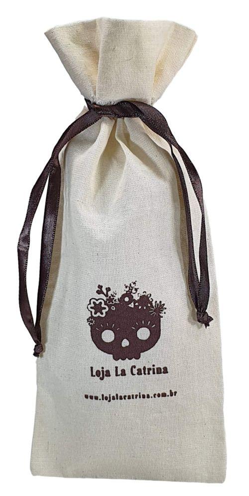 Saquinho de algodão para garrafa personalizado 18x35 - impressão em serigrafia - Linha Classic 4072  - Litex Embalagens