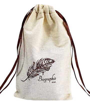 Saquinho de algodão Personalizado 15x30 -  impressão da logomarca em serigrafia  - Linha Classic 4159  - Litex Embalagens