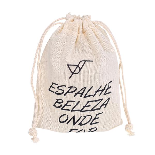 Saquinho de Algodão Cru Borda Simples 08x12 Personalizado em Serigrafia 1 Cor   - Litex Embalagens