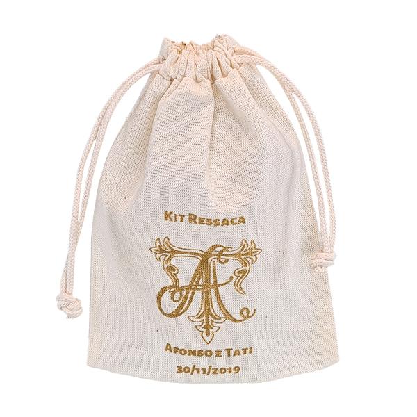 Saquinho de algodão personalizado  para anel 04 x 06 - impressão em serigrafia - Linha Classic 4119  - Litex Embalagens