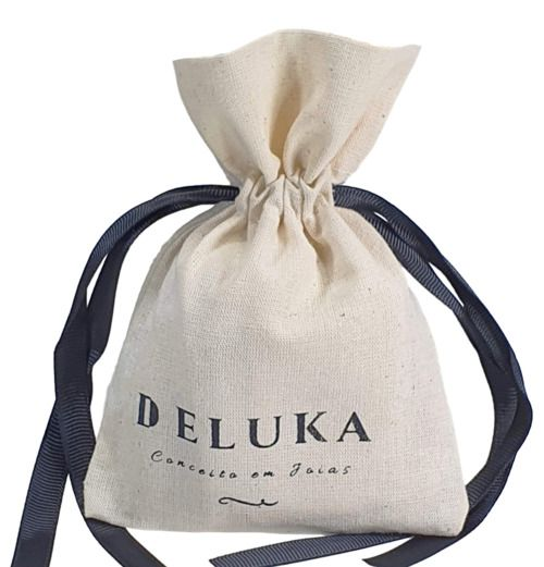 Saquinho de algodão personalizado  para bijuterias -  08x12 - impressão em serigrafia - Linha Classic 4112  - Litex Embalagens