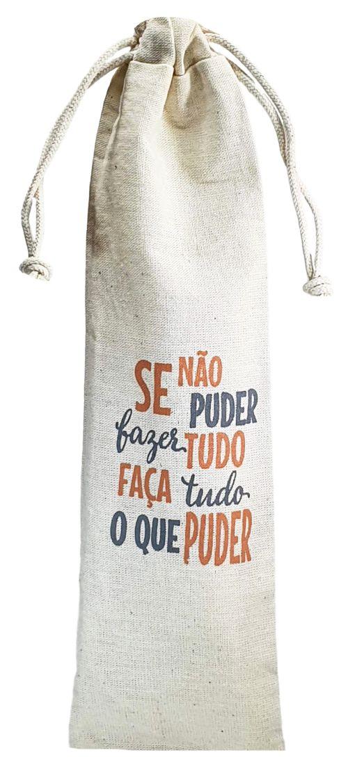 Saquinho de algodão personalizado para canudo 07x20 - impressão em serigrafia  - Linha Classic 4411  - Litex Embalagens