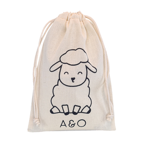 Saquinho de algodão personalizado para lembrancinhas - 15x20 - impressão em serigrafia - Linha Classic 72391  - Litex Embalagens