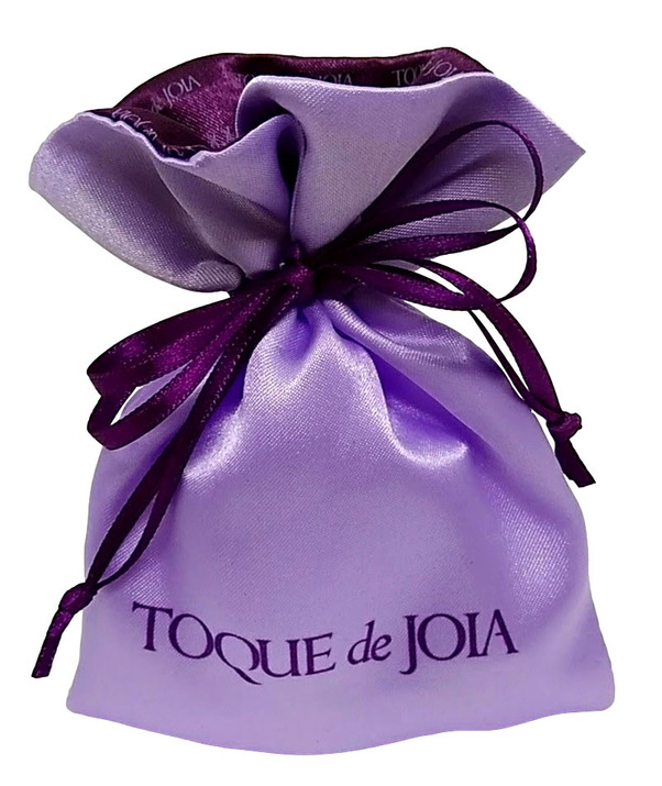 Saquinho de cetim personalizado 10 x 15 - Borda gola colorida  -  Linha Exclusive 7032  - Litex Embalagens