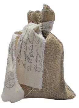 Saquinho de juta 15 x 20 - fita de algodão personalizada -  Linha Orgânica  7303  - Litex Embalagens